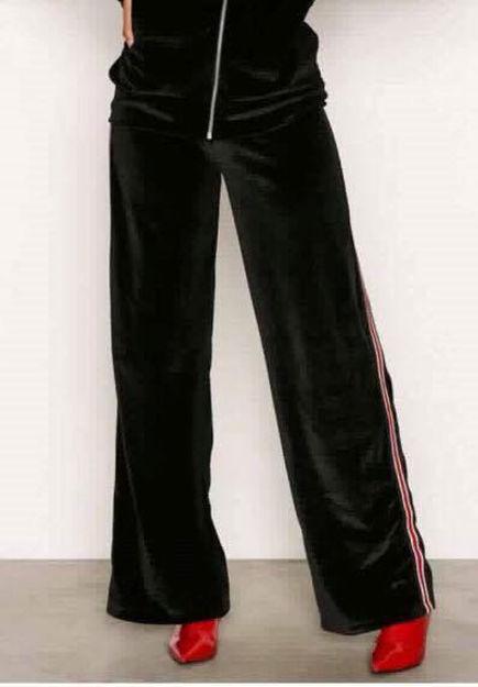 Velour bukser med stribe i siden topfashion