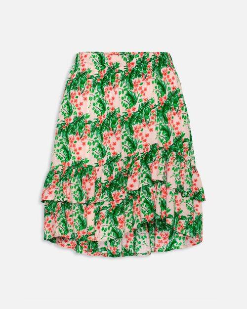 Blomstret nederdel.