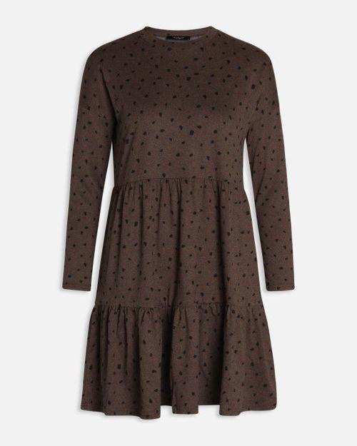 Nougat kjole m. prikker