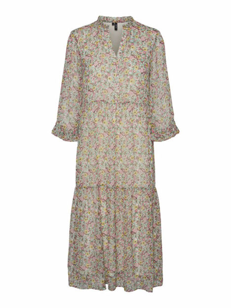 vmprinty flounce 3/4 calf dress.