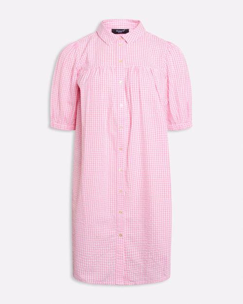 Lyserød ternet kjole