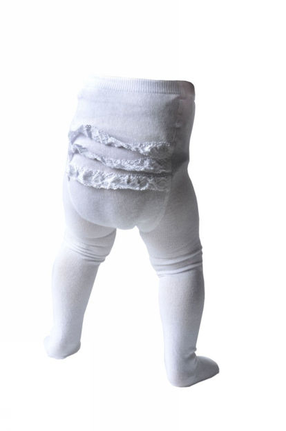 Cotton tights with lace