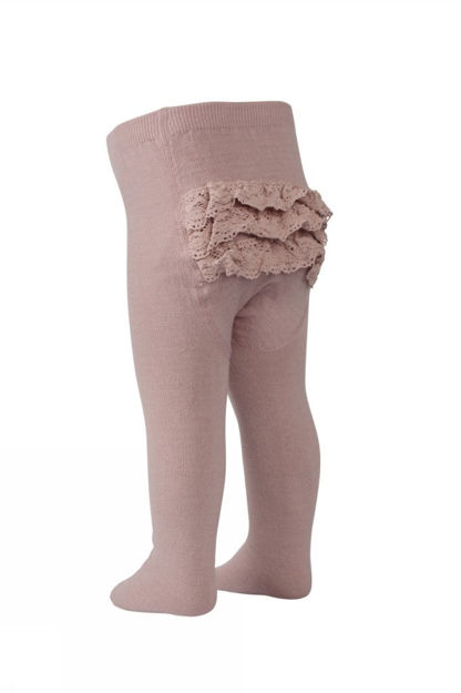Wool/cotton tights with lace